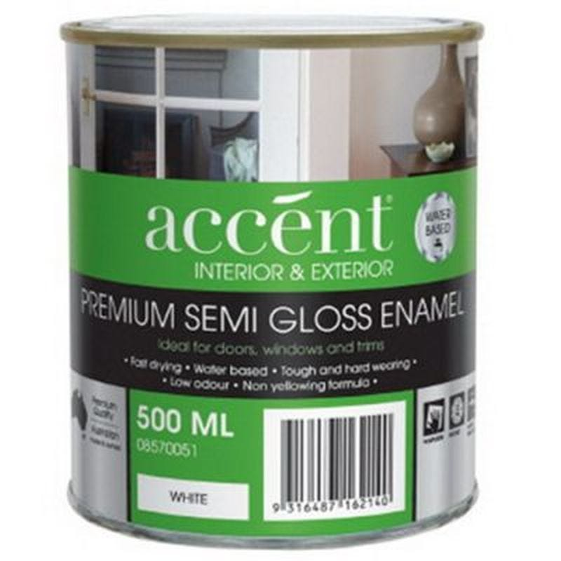 Accent® Enamel Water Based Semi Gloss White 500ml