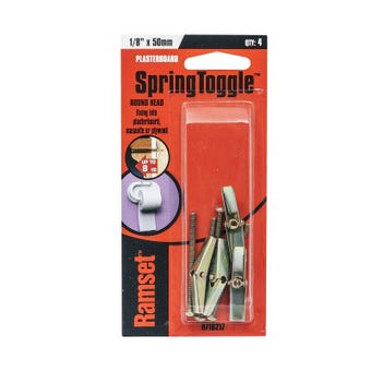 "Ramset SpringToggle Round Head 1/8"" x 50mm 8kg - 4 Pack"