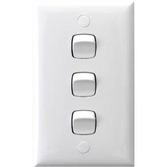 HPM 3 Gang Wall Switch White