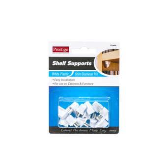 Prestige Plastic Shelf Supports White 5mm - 12 Pack