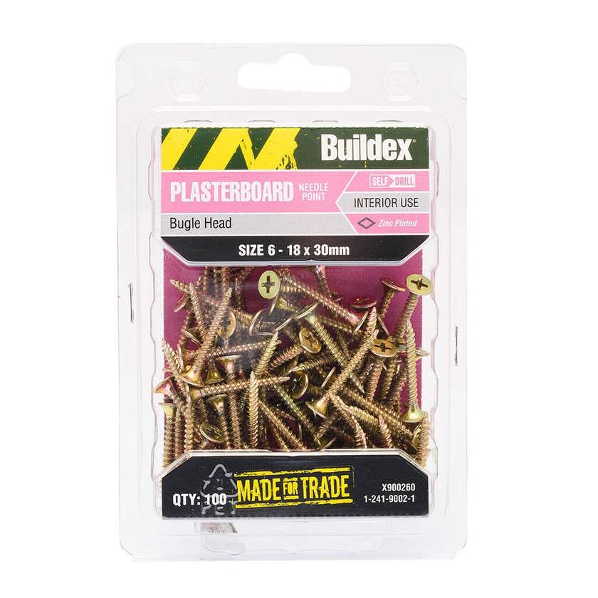 Buildex® Plasterboard Screws Zinc Plated 6 - 18 x 30mm - 100 Pack