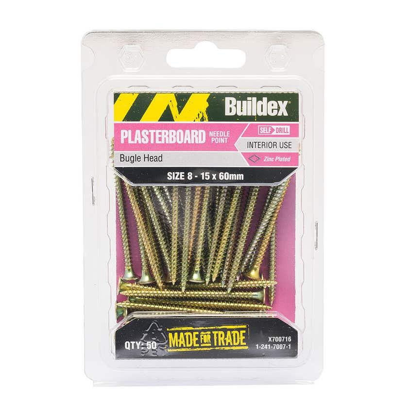 Buildex® Plasterboard Screws Zinc Plated 8 - 15 x 60mm - 50 Pack