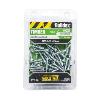 Buildex Timber Screws Countersunk T17 Zinc Plated 8 - 15 x 25mm - 50 Pack