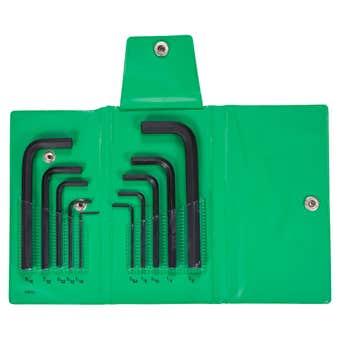 Bondhus Hex End L-Wrench Hex Key Set Imperial Wallet Short - 10 Piece