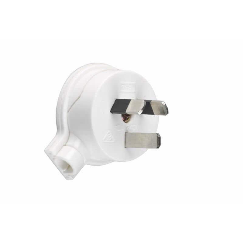 HPM PVC 10A 3 Pin Plug Top Side Entry White