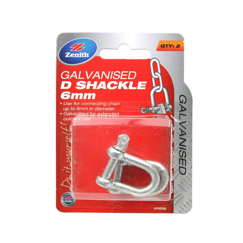 Zenith D-Shackle Galvanised 6mm - 1 Pack