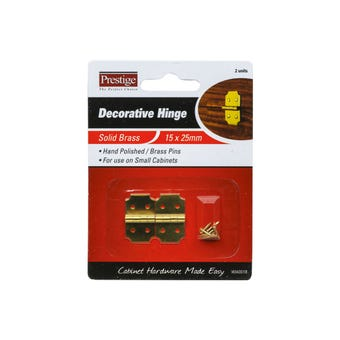 Prestige Decorative Hinge Polished Brass 15 x 25mm - 2 Pack
