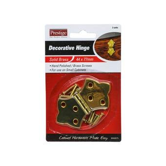 Prestige Decorative Hinge Polished Brass 44 x 75mm - 2 Pack