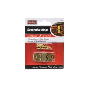 Prestige Decorative Hinge Polished Brass 19 x 47mm - 2 Pack