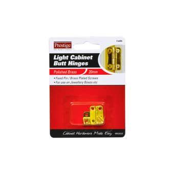 Prestige Light Cabinet Butt Hinges Polished Brass 20mm - 2 Pack