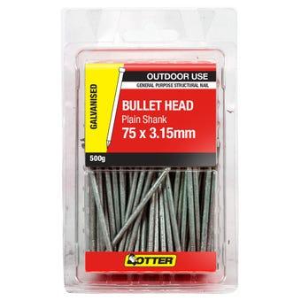 Otter Bullet Head Galvanised Nail 75x3.15mm 500g