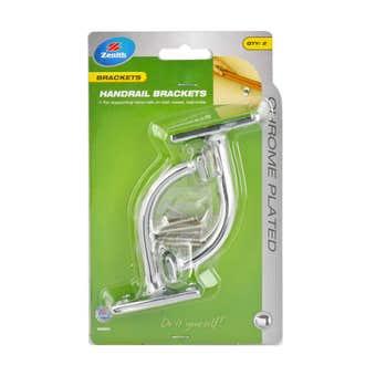 Zenith Bracket Handrail Chrome Plated 80mm - 2 Pack