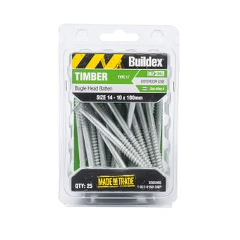Buildex® Bugle Batten Screws Type 17 Zinc Alloy 3 14 - 10 x 100mm - 25 Pack