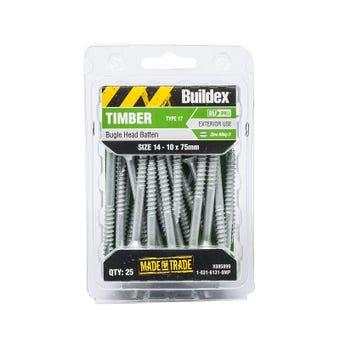 Buildex® Bugle Batten Screws Type 17 Zinc Alloy 3 14 - 10 x 75mm - 25 Pack