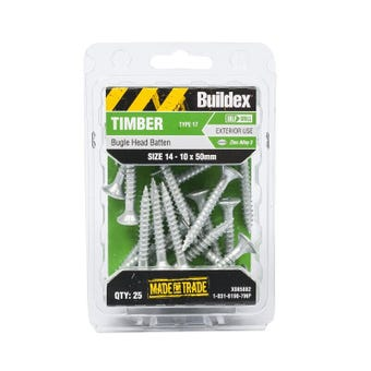 Buildex® Bugle Batten Screws Type 17 Zinc Alloy 3 14 - 10 x 50mm - 25 Pack