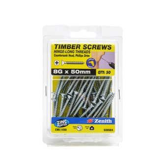 Zenith Timber Screws Long Thread Countersunk Zinc Plated 8G x 50mm - 50 Pack