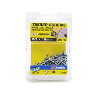 Zenith Timber Screws Long Thread Countersunk Zinc Plated 8G x 16mm - 100 Pack