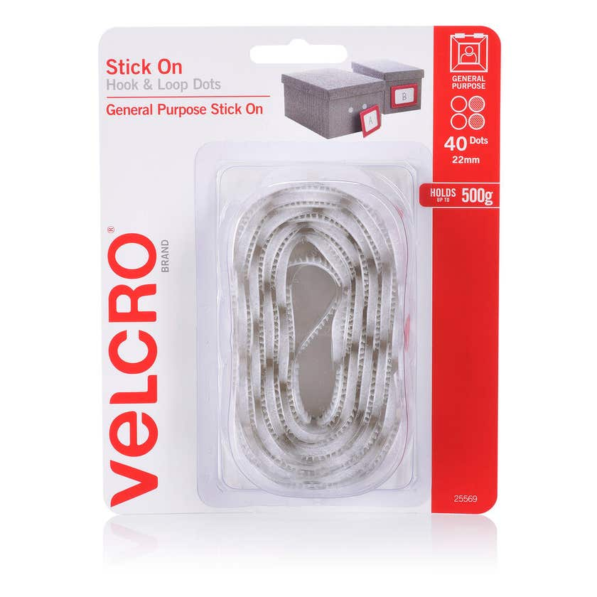 Velcro Stick On Dots White 22mm - 40 Dots