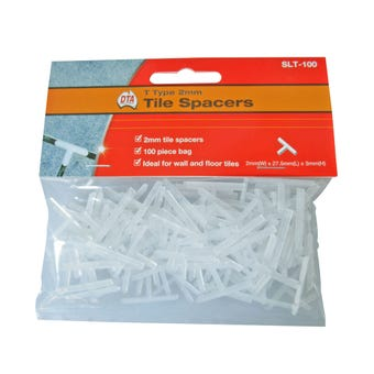 DTA T Type Tile Spacers 2mm - 100 Pack