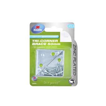 Zenith Tri Corner Brace Zinc Plated 50 x 15mm - 2 Pack