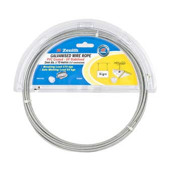 Zenith Wire Rope PVC Coated Galvanised 2mm x 10m - 1 Pack