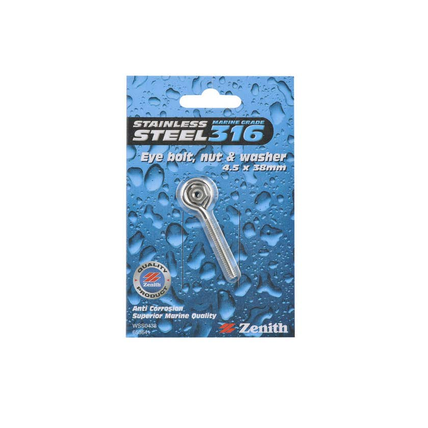 "Zenith Eye Bolt Stainless Steel 57 x 10mm x 3/16"" - 1 Pack"