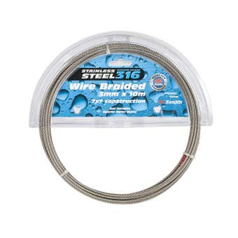 Zenith Wire Rope Stainless Steel 3mm x 10m - 1 Pack