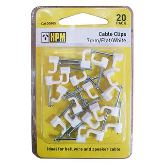 HPM Electrical Cable Clip Flat White - 20 pack
