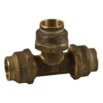 Tee Flared Comp Brass 15C x 15C x 15C