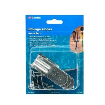 Zenith Tool Storage Hooks Heavy Duty 25kg Zinc Plated - 6 Pack