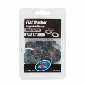 "Zenith Flat Washers Zinc Plated 1/4"" M6 - 100 Pack"