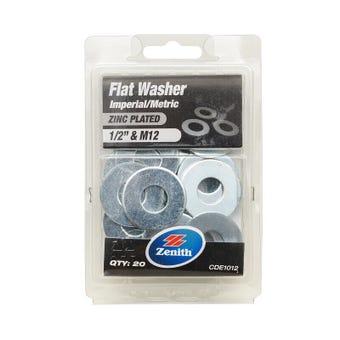 "Zenith Flat Washers Zinc Plated 1/2"" M12 - 20 Pack"