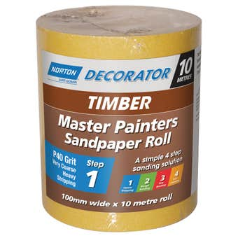 Norton Painters Sandpaper Roll P40 Grit 100mm x 10m