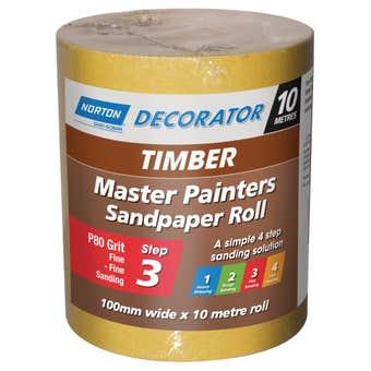 Norton Painters Sandpaper Roll P80 Grit 100mm x 10m