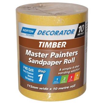 Norton Painters Sandpaper Roll P40 Grit 115mm x 10m