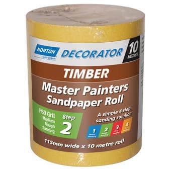 Norton Painters Sandpaper Roll P60 Grit 115mm x 10m
