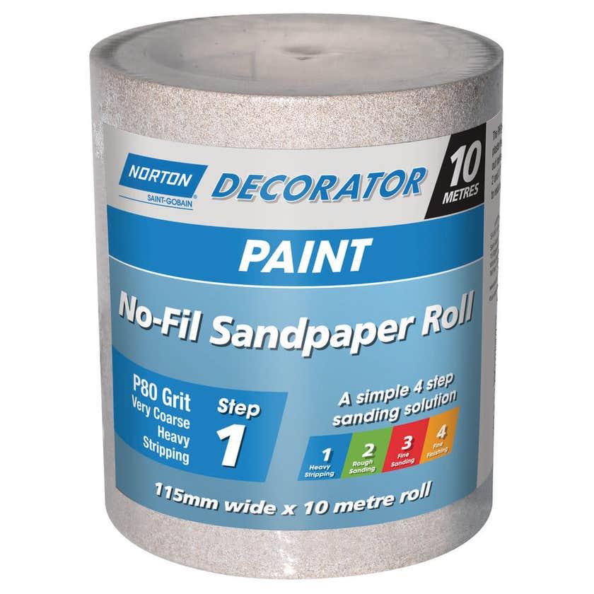 Norton No Fill Sanding Roll P80 Grit 115mm x 10m