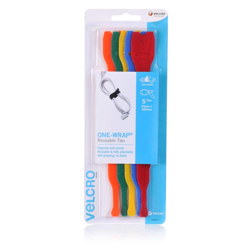 Velcro Reusable Ties Coloured 200mm - 5 Pack