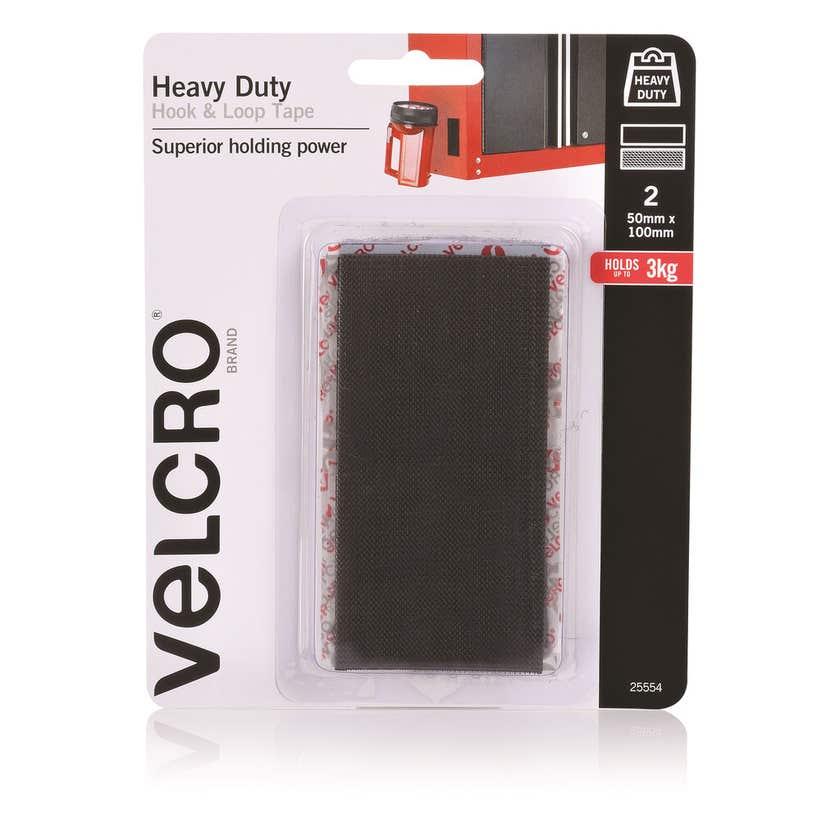Velcro Heavy Duty Stick On Black 50 x 100mm