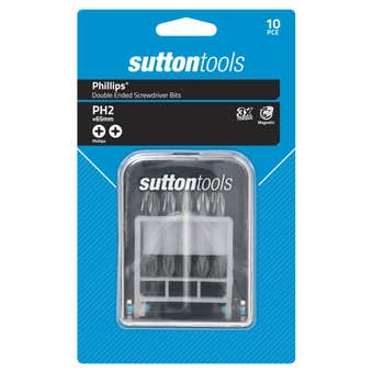 Sutton Tools Phillips Double Ended Screwdriver Bit Set PH2 x65mm - 10 Piece