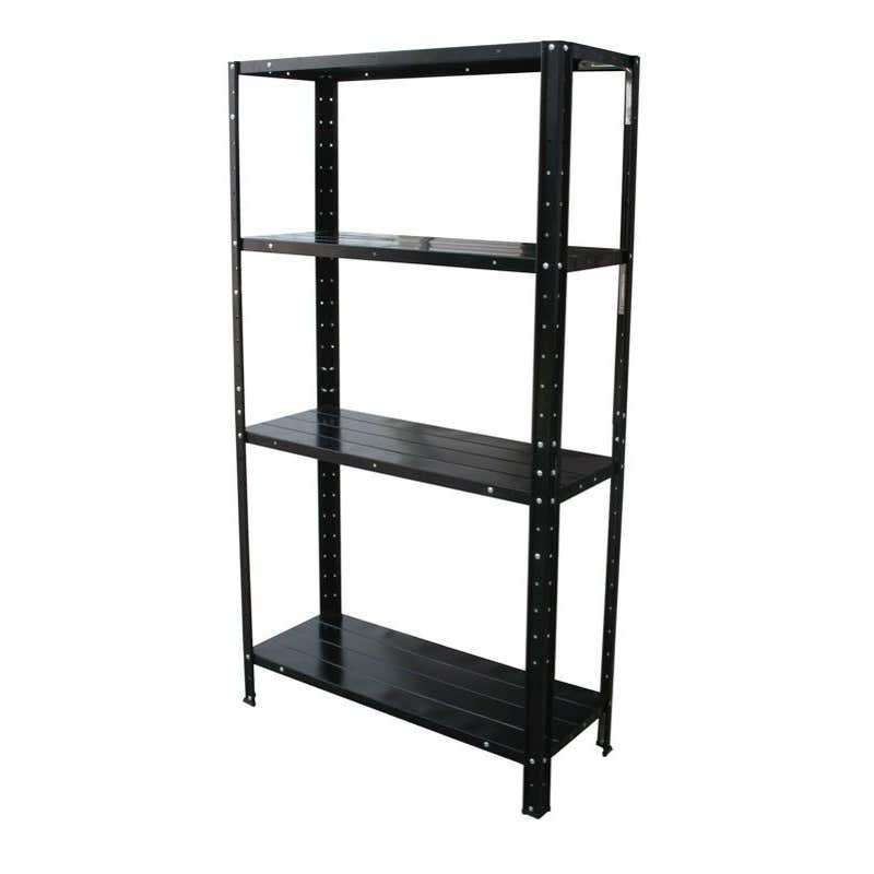 Storage Geelong 4 Tier Shelf Unit Black 300 x 710 x 1370mm 60kg