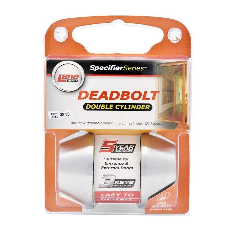 Lane Standard Round Deadbolt Double Cylinder Brushed Satin Chrome
