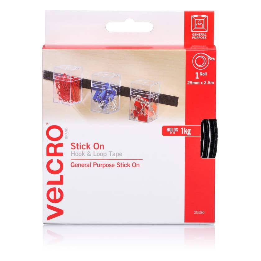 Velcro Hook & Loop Black 25mm x 2.5m