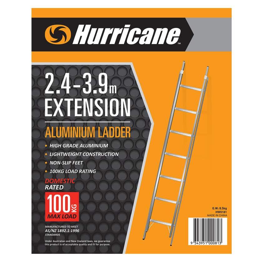 Hurricane 2.4 -3.9m Extension Ladder 100kg Domestic