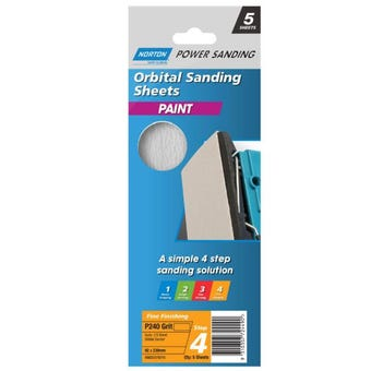 Norton Paint Sanding Sheet 92 x 230mm P240 Grit - 5 Pk