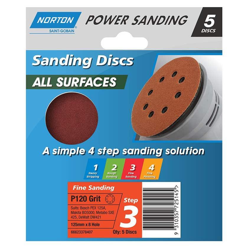 Norton Sanding Discs 125mm x 8H P120 Grit - 5 Pk