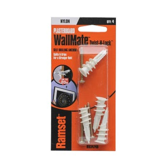 Ramset WallMate Twist-N-Lock Nylon  20kg - 4 Pack