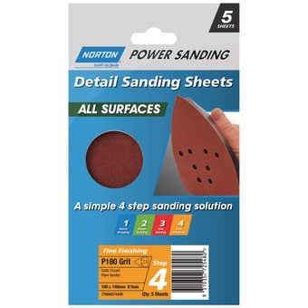 Norton All Surface Detail Sanding Sheet Step 4 100 x 140mm x 8h P180 - 5 Pack