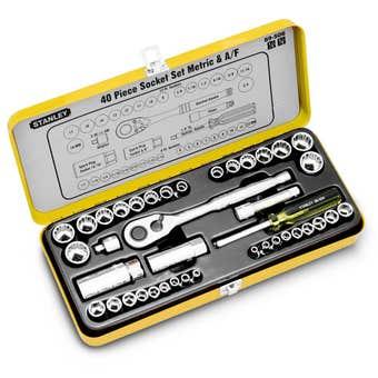 "Stanley 1/4"" & 3/8"" Drive Metric & A/F Socket Set - 40 Piece"