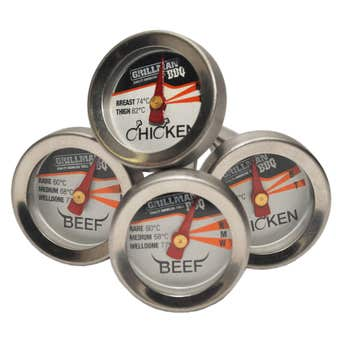 Grillman BBQ Mini Meat Thermometers - 4 Pack
